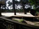 Terrasse en pin sur plots béton de section carrée
